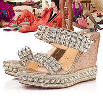 Christian Louboutin Open Toe Casual Style Studded Block Heels Heeled Sandals