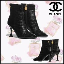 CHANEL Plain Toe Blended Fabrics Pin Heels Elegant Style