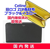 CELINE Zipped Calfskin Bi-color Plain Long Wallets
