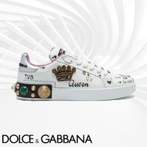 Dolce & Gabbana Round Toe Lace-up Casual Style Studded Low-Top Sneakers