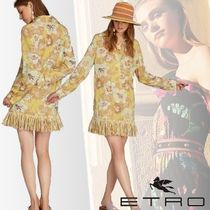 ETRO Flower Patterns Silk Long Sleeves Long Fringes Elegant Style