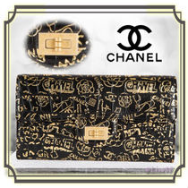 CHANEL Calfskin Other Animal Patterns Long Wallets