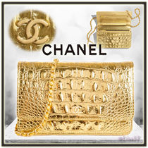 CHANEL CHAIN WALLET Calfskin Chain Other Animal Patterns Elegant Style