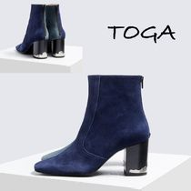 TOGA Square Toe Suede Plain Elegant Style Ankle & Booties Boots