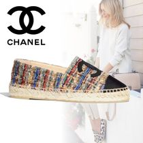 CHANEL Other Check Patterns Plain Toe Rubber Sole Tweed