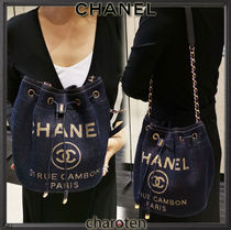 CHANEL DEAUVILLE Casual Style Unisex Canvas Chain Plain Purses Shoulder Bags