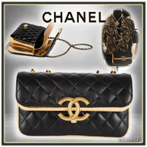 CHANEL MATELASSE Lambskin 2WAY Chain Plain Elegant Style Handbags