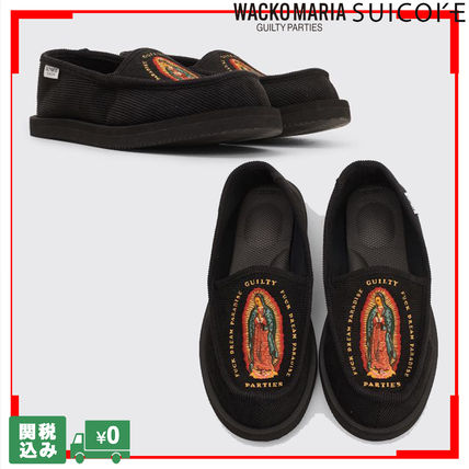 Unisex Street Style Collaboration Logo Loafers & Slip-ons