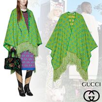 GUCCI Stripes Monogram Wool Fringes Ponchos & Capes