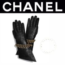 CHANEL ICON Blended Fabrics Street Style Chain Leather