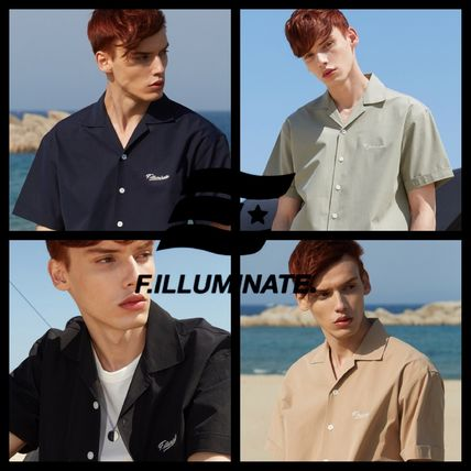 F.ILLUMINATE Shirts Unisex Street Style Plain Short Sleeves Oversized Shirts