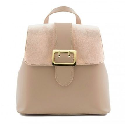 2WAY Plain Leather Elegant Style Backpacks