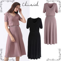 Chicwish Tight V-Neck Plain Medium Short Sleeves Elegant Style