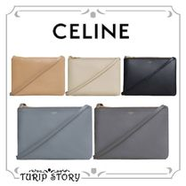 CELINE Trio Bag Lambskin Plain Shoulder Bags