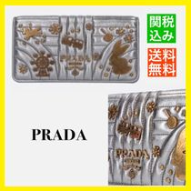 PRADA DIAGRAMME Casual Style Calfskin Blended Fabrics Chain