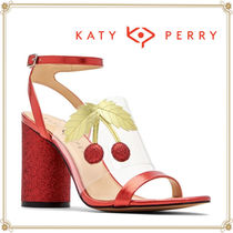 Katy Perry Tropical Patterns Open Toe Casual Style Plain Block Heels