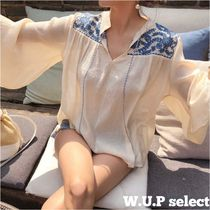 Flower Patterns V-Neck Puff Sleeves Tunics