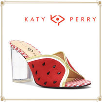 Katy Perry Gingham Tropical Patterns Open Toe Casual Style Block Heels