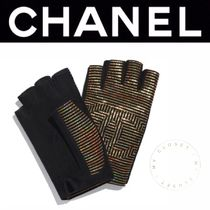 CHANEL ICON Stripes Blended Fabrics Street Style Leather Handmade