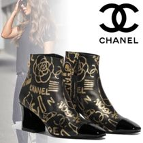 CHANEL Flower Patterns Blended Fabrics Leather Block Heels
