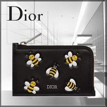 Christian Dior Unisex Street Style Other Animal Patterns Leather Coin Cases