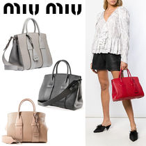 MiuMiu MADRAS 2WAY Plain Leather Elegant Style Totes