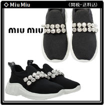 MiuMiu Round Toe Rubber Sole Casual Style With Jewels