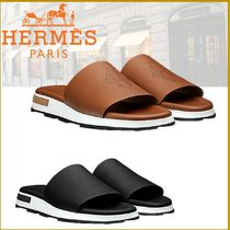 HERMES Street Style Plain Leather Shower Shoes Shower Sandals