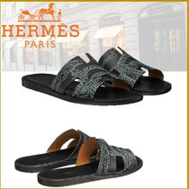 HERMES Street Style Leather Shower Shoes Shower Sandals
