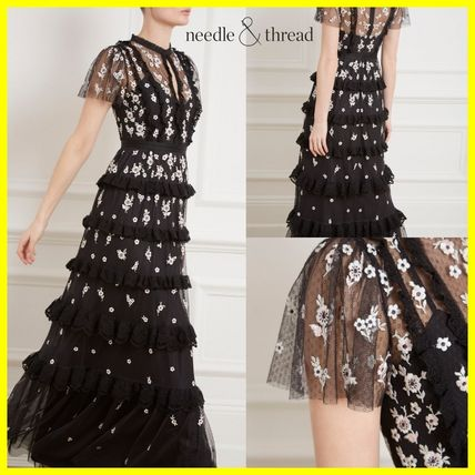 Flower Patterns Maxi Long Sleeves Long Party Style High-Neck