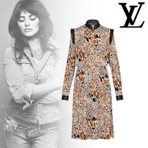 Louis Vuitton Crew Neck Long Sleeves Elegant Style Dresses
