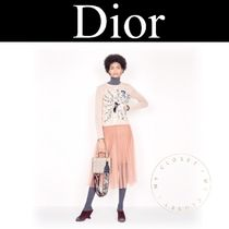 Christian Dior Crew Neck Cable Knit Casual Style Cashmere Street Style
