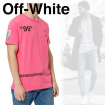 Off-White Street Style Boat Neck Cotton Short Sleeves T-Shirts