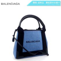BALENCIAGA CABAS Canvas 2WAY Plain Elegant Style Totes