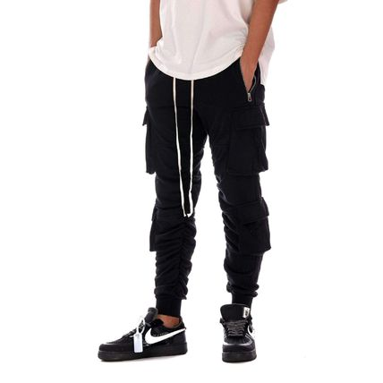 Unisex Street Style Collaboration Plain Cotton Cargo Pants