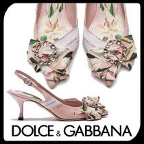 Dolce & Gabbana Flower Patterns Leather Pin Heels With Jewels Elegant Style