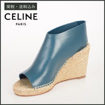 CELINE Open Toe Casual Style Blended Fabrics Plain Leather