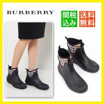 Burberry Other Check Patterns Blended Fabrics Rain Boots Boots