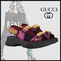 GUCCI Rubber Sole Casual Style Blended Fabrics Leather