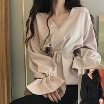 Lace-up Long Sleeves Plain Long Elegant Style
