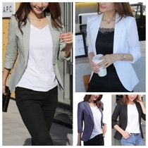 Gingham Plain Medium Elegant Style Jackets