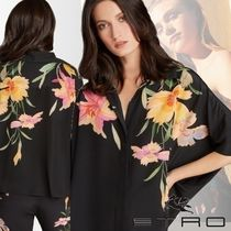 ETRO Flower Patterns Silk Dolman Sleeves Medium Elegant Style