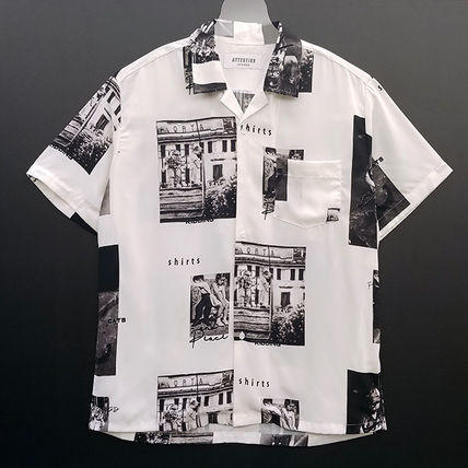 Shirts Unisex Street Style Short Sleeves Oversized Shirts 3