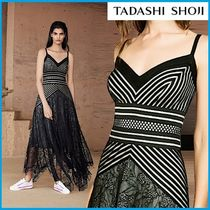 TADASHI SHOJI Stripes Flower Patterns Sleeveless Flared Long Party Style