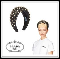 PRADA Casual Style Studded Leather Hair Accessories