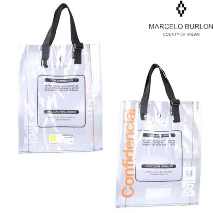 Casual Style Unisex Crystal Clear Bags PVC Clothing Totes