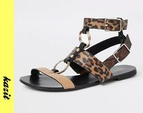 River Island Leopard Patterns Casual Style Faux Fur Sandals