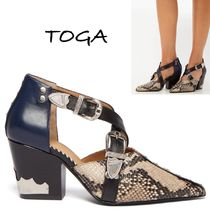 TOGA Studded Leather Python Elegant Style Ankle & Booties Boots