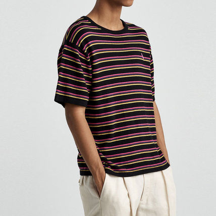 Crew Neck Stripes Fine Gauge Street Style Cotton