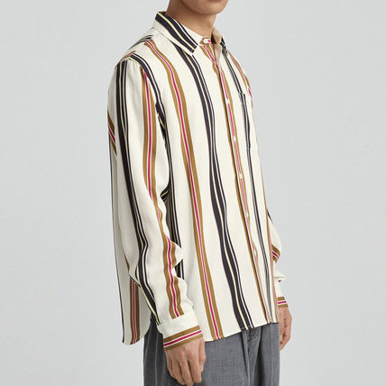 Button-down Stripes Street Style Long Sleeves Shirts